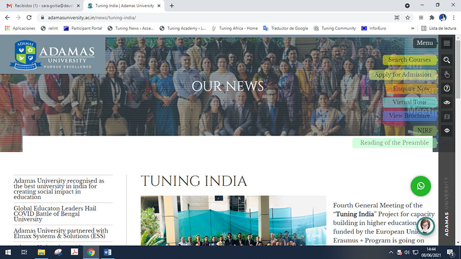 ADAMAS UNIVERSITY - Sharing all four objectives of Tuning India Project including formulating meta profiles and designing the degree program in Education.