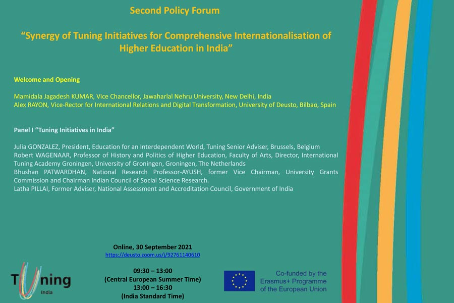 """Second Policy Forum  """"Synergy of Tuning Initiatives for Comprehensive Internationalisation of  Higher Education in India"""""""
